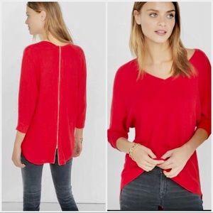 NWT - Express - Red Defective Zipper Sweater